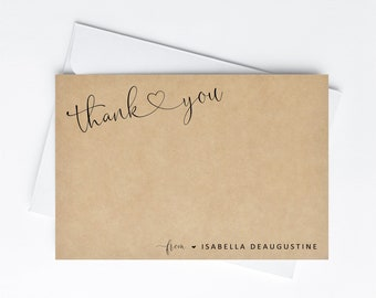 Personalized Thank You Card Template, Printable Flat Thank You Note Card, Instant Download Digital File, Graduation Wedding Shower Teacher