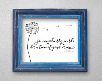 Dandelion Wishes Wall Art - New Job, Career, Graduation, Moving, Wedding Printable Gift - Quote / Poem Print - Instant Download Digital File