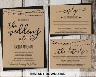 Wedding Invitation Template - Rustic Printable Set | String Lights, Calligraphy | Kraft Paper | Editable Instant Download Digital File Suite