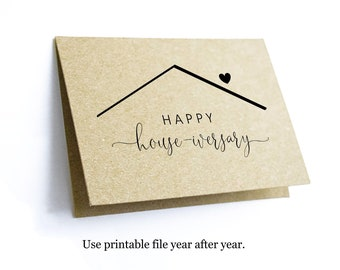 Printable Happy Housiversary Card Template - House-iversary - New Home Anniversary - Realtor Real Estate Agent - Blank Folded - Download PDF