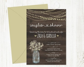 Rustic Couple Shower Invitation Printable Template - Bridal, Wedding, Baby - Mason Jar, Baby Breath, Wood Instant Download Digital File PDF