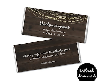 Personalized Hershey Wrapper Template - Printable 1.45 & 1.55 oz Chocolate Candy Bar Label - Anniversary, Wedding Instant Download File PDF