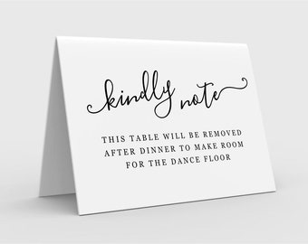 Note for Guests - Table Will Be Removed After Dinner to Make Room for Dance Floor Folded Tent Card, Printable Template Download Digital File