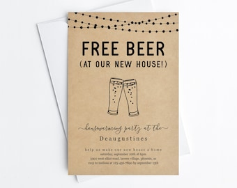 Free Beer Funny Housewarming Party Invitation Template, Fun Printable House Warming Invite Evite, Instant Download Digital File Editable PDF