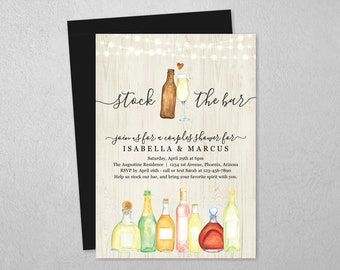 Stock the Bar Invitation Template, Bridal Wedding Couple Shower Housewarming Rehearsal Dinner Engagement Party Invite Evite Instant Download