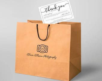 Printable Return Policy & Thank You Card Template - NO COLOR INK - Instant Download Pdf Digital File - Business Photographer Simple