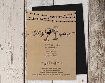 Wine Tasting Invitation Template, Printable Invite, Rustic Kraft Paper Instant Download Digital File, Adult Birthday Party, Fundraiser Event