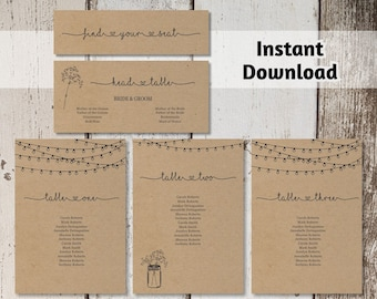 Wedding Seating Chart Printable Template - Rustic Mason Jar & Fairy Lights Seating Plan on Kraft Paper | Editable PDF Instant Download DIY