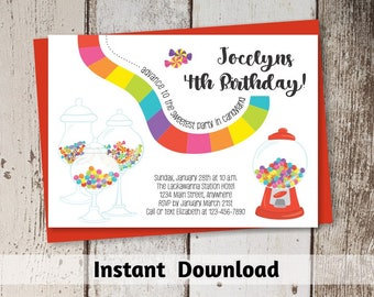 Candyland Invitation Download - Printable Candyland Party Invitation Template - Instant Digital File Editable PDF - Baby Shower Birthday 5x7