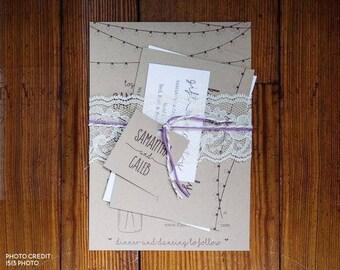 Wedding Invitation Template - Rustic Mason Jar, Fairy Lights Printable Set - Kraft Paper - PDF Word Page Instant Download Digital File Suite