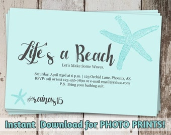 Beach Invitation - Birthday Party (adults & kids) - Printable Digital File Instant Download - Photo prints or card stock - Starfish