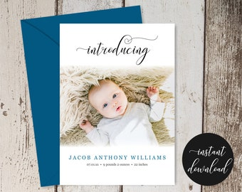Simple Modern Birth Announcement Card, Printable PDF Template, Baby Arrival, Newborn Boy / Girl Photo Picture, Instant Download Digital File