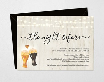 The Night Before Rehearsal Dinner Invitation Printable Template - Pre-Wedding Party - Easy Editable Instant Download Digital File 5x7 PDF