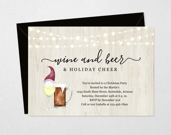 Christmas Party Invitation Printable Template - Wine Beer Holiday Cheer Fun Invite & Evite- Editable Instant Download Digital File 5x7 PDF
