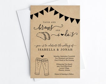 Taco and Brews and I Do Wedding Invitation Template, Printable Taco and Beer Wedding Reception Fiesta Invite Instant Download Digital File