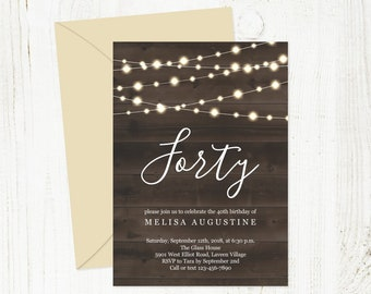 Birthday Invitation Template for Women Woman - Printable Rustic Wood Fairy Light Download 16th 21st 30th 40th 50th 60th 70th 80th 90th 100th