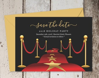 Red Carpet Save the Date Card Template - Printable Hollywood Theme Party Save the Date Invitation, Birthday, Retirement, Grand Opening Event