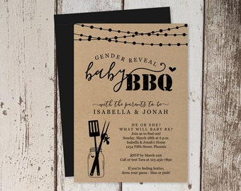 Gender Reveal BBQ Invitation Template - Printable He or She Party Kraft Paper Invite - Instant Download Digital File PDF Barbecue Barbeque