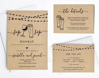 Fun Wedding Invitation Template - Sip Sip Hooray Funny Wine and Beer Printable Set - Rustic Kraft Paper | Instant Download PDF Suite - Light