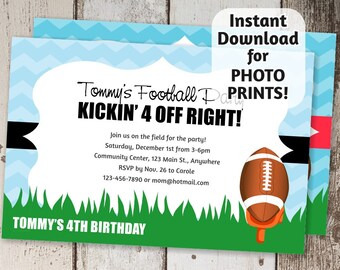 Printable Football Invitation Template for Boys, Kids or Girls Pink Birthday or Team Party - Instant download digital file  - Photo Prints