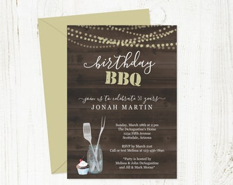 Printable Birthday BBQ Invitation Template - Barbeque Barbecue Party - Rustic Wood Background, Mason Jar - Instant Download Digital File PDF