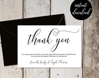 Funeral Thank You Card Template - Simple Black & White Sympathy Acknowledgement Thanks - Men / Women - Editable DIY 4x6 PDF Instant Download