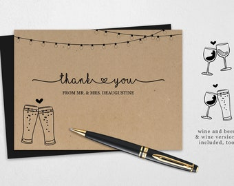 Beer Wine Wedding Thank You Card Printable Template - Rustic Brewery Pint Glass Toast on Kraft Paper | DIY 4x6, 5x7 PDF Instant Download