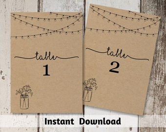 Wedding Table Number Printable - Table Card Template - Rustic Mason Jar, Fairy lights on Kraft Paper | Editable PDF Instant Download 4x6 5x7