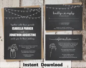 Chalkboard Wedding Invitation Template - Rustic Mason Jar Printable Set | Editable PDF Instant Download Digital File Suite - String Light