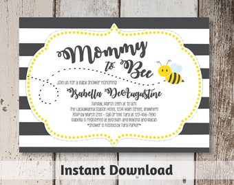 Bee Baby Shower Invitation Download - Printable Mommy to Bee Invitation Template - Gender Neutral - Instant Digital File Editable PDF