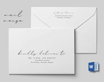 Wedding Address Envelope Template Microsoft Word Mail Merge, Printable Minimalist Calligraphy Instant Download Digital File A7, Christmas
