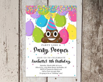 Poop Invitation - Printable Template - Poop Emoji Theme Invite - Tween Girls Birthday Party Invitation - Instant Download Digital File PDF