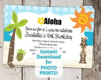Luau Invitation - Birthday Party (kids & adults), Anniversary, Shower - Printable Digital File Instant Download - Photo prints or card stock