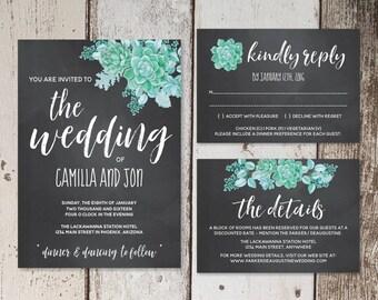 Watercolor Succulent Wedding Invitation Template, Chalkboard Black Background Printable Cacti Desert Set Instant Download Digital File Suite
