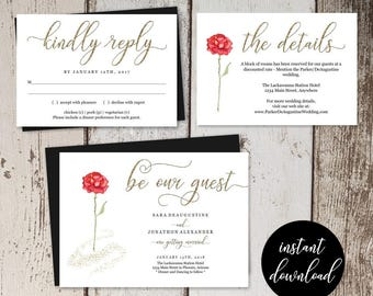 Beauty and the Beast Wedding Invitation Template Printable Set - Red Rose, Gold Glitter Editable Instant Download Digital File DIY PDF Suite