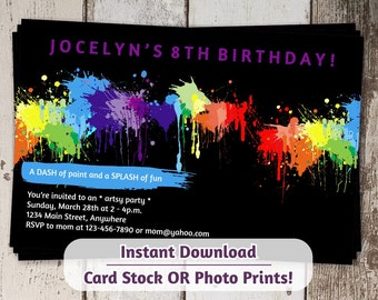Painting Invitation for Birthday Party - Girls Art Painting Printable Instant Download Digital File  - photo prints or card stock - Tween