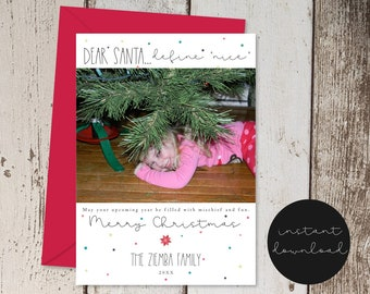 Dear Santa Define Nice Funny Christmas Card Template - Add Photo / Picture - Define Naughty - Instant Download Digital File DIY 5x7 PDF