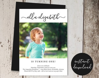 Simple Modern 1st Birthday Invitation Template, Photo / Picture First Birthday Party Invite, Boy / Girl, Instant Download Digital File PDF
