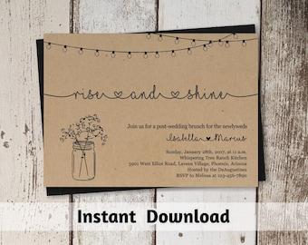 Post Wedding Brunch Invitation Printable Template - Rustic Rise & Shine Invite on Kraft Paper | Morning After Instant Download Digital File