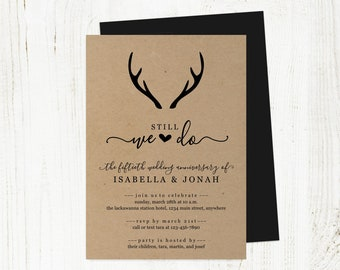 Deer Antler Wedding Anniversary Invitation Template, Rustic Country Invite Instant Download Digital, 5th 10th 20th 25th 30th 40th 50th 60th