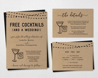 Funny Wedding Invitation Template - Free Cocktail Drink Alcohol Fun Printable Set - Rustic Kraft Paper | Instant Download PDF Suite - Lights