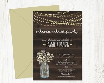 Retirement Party Invitation Template - Printable Retirement Invitation - Rustic Wood Mason Jar Lights - Instant Download Digital File PDF