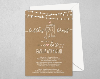 Bubble & Brew Couple Wedding Shower Invitation Template, Printable Bridal Champagne Beer Invite, Kraft Paper, Instant Download Digital File