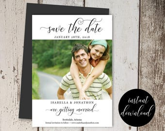 Photo Save the Date Template - Wedding Printable Picture Card - Instant Download Digital File DIY PDF - Modern Save the Day - Email Text