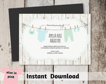 Rustic Birth Announcement Card Template - Boy & Girl, Simple Printable Instant Download Digital File PDF, No Picture, Pink Coral; Blue Green