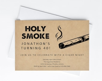 Holy Smoke Cigar Night Invitation Template - Printable Cigar Theme Birthday Retirement Party Invite Evite Digital File Instant Download DIY
