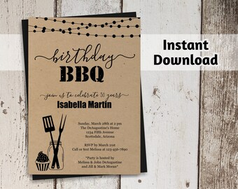 Birthday BBQ Invitation - Women / Men - Printable Barbeque Party, Barbecue Template - Rustic Mason Jar, Kraft Paper - Instant Download PDF