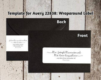 Printable Address Template for Envelope Wraparound Labels - Avery 22838 - Rustic Handwriting Wrap Around - Instant Download Digital File PDF