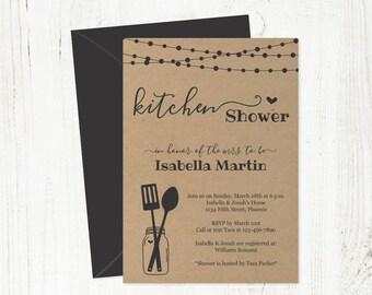 Kitchen Shower Invitation Template - Bridal / Wedding - Printable Rustic Mason Jar Invite - Kraft - Instant Download PDF Digital File 5x7