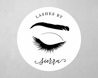 "Lashes By Sticker Template, Label / Tag 2"" & 2 1/2"" Round Printable Seals, Personalize Custom Editable PDF Digital File Instant Download DIY"
